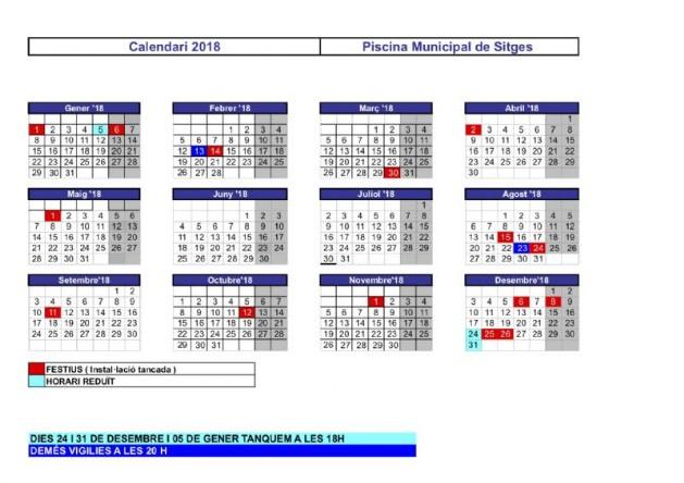 Calendari 2018 for Piscina municipal sitges